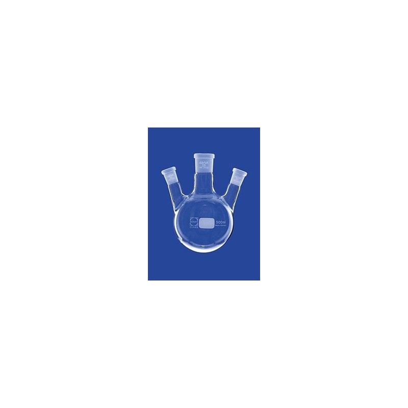 Three-neck round-bottom flask 100 ml side necks angled Duran
