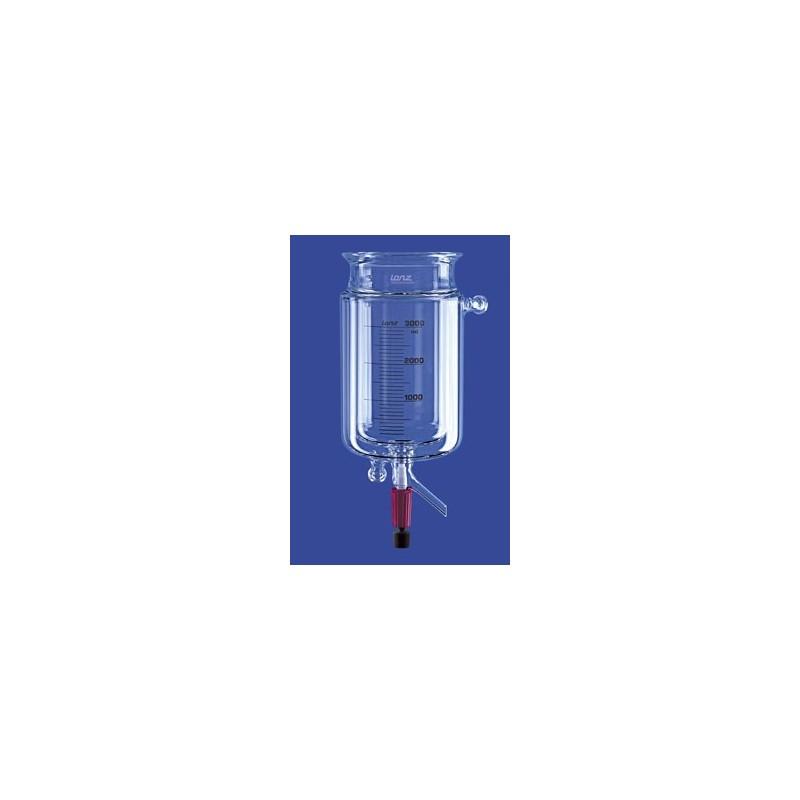 Reaktionsgefäß 0,1 L zylindrisch mit Temperiermantel Ventil 10