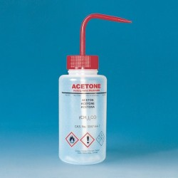 """Safety wash bottle """"dest. Wasser"""" 250 ml PE-LD wide mouth white"""