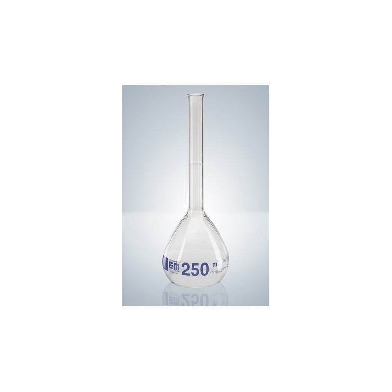 Volumetric flask 250 ml Duran class A CC beaded rim graduation