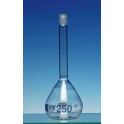 Volumetric flask 100 ml Duran class A CC no stopper blue
