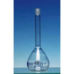 Volumetric flask 200 ml Duran class A CC no stopper blue