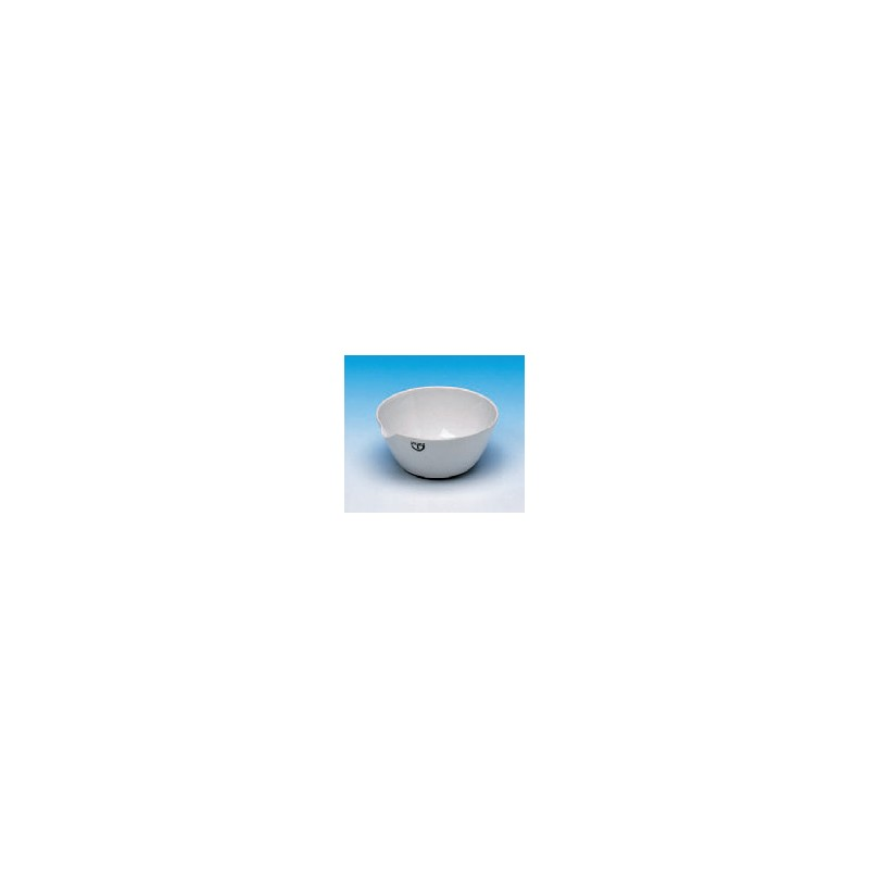 Evaporating basin 60 ml Ø 75 mm spout glazed flat bottom height