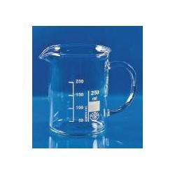 Becher 250 ml Borosilikatglas 3.3 niedrige Form Ausguss Griff