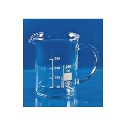 Becher 600 ml Borosilikatglas 3.3 niedrige Form Ausguss Griff