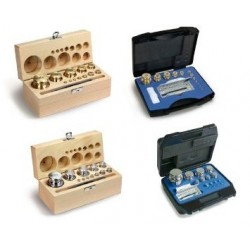 Sets of weights lined wood case cylindrical polished stainless