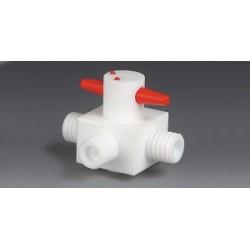 3-drożny zawór PTFE GL 14 średnica otworów 4 mm w kształcie