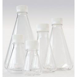 Erlenmeyer flask 125 ml PETG baffled screw cap PE sterile pack