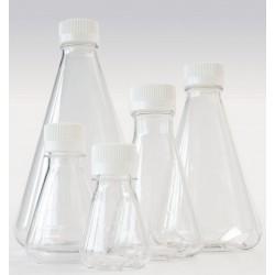 Erlenmeyer flask 250 ml PETG baffled screw cap PE sterile pack