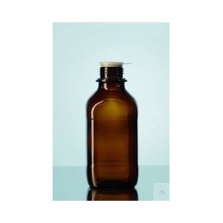 Reagent bottle 100 ml narrow mouth amber glass square without