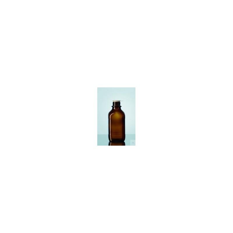 Laborflasche 100 ml enghals Braunglas vierkant ohne