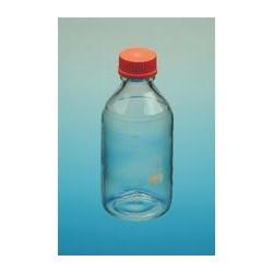 Laborflasche 100 ml Boro 3.3 Schraubkappe PP GL45 rot