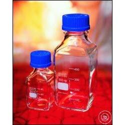 Laborflasche 500 ml Duran vierkant Schraubkappe GL45 blau