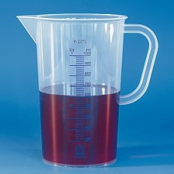 Graduated beaker 5000:100 ml PP graduation blue spout handle