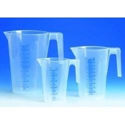 Graduated beaker 500:10 ml PP graduation blue spout stackable