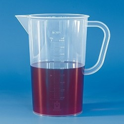 Messbecher 5000:100 ml PP Graduierung erhaben Ausguss Henkel VE