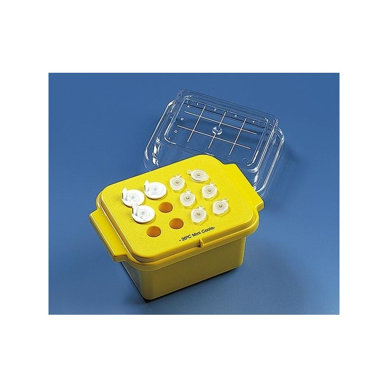 Mini cooler for 12 tubes 0,5 … 2 ml PC yellow maintain temp.of