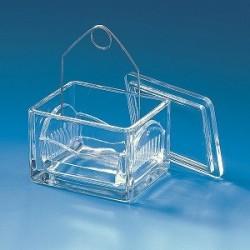 Einsatz für Färbetrog für 10 Objektträger Natron-Kalk-Glas