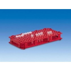 Microcentrifuge tube rack PP for 128 tubes up to Ø 11 mm red