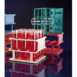 Test tube stand 16xØ25 mm Resmer® LxWxH 122x122x75 blue