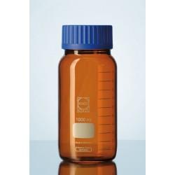 Reagent bottle 500 ml wide neck Duran amber srew cap GLS80 blue
