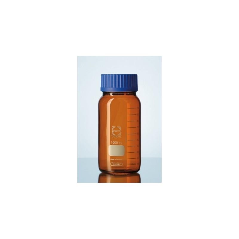Reagent bottle 1000 ml wide neck Duran amber srew cap GLS80 blue