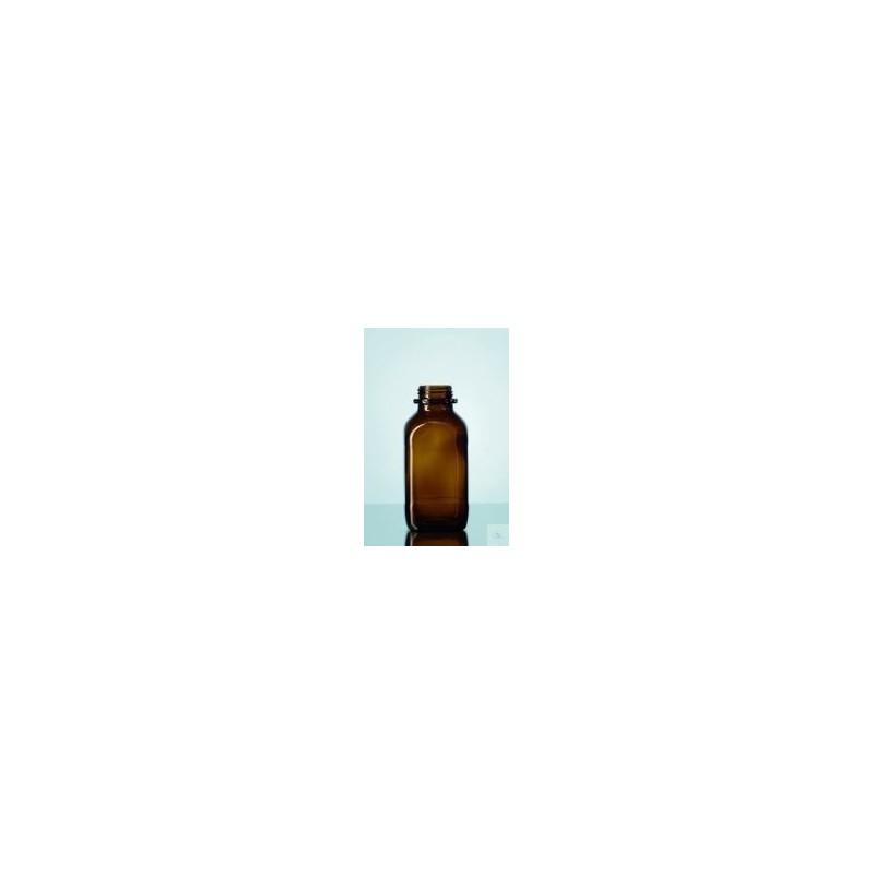 Laborflasche 100 ml weithals Braunglas vierkant ohne Ring/Kappe