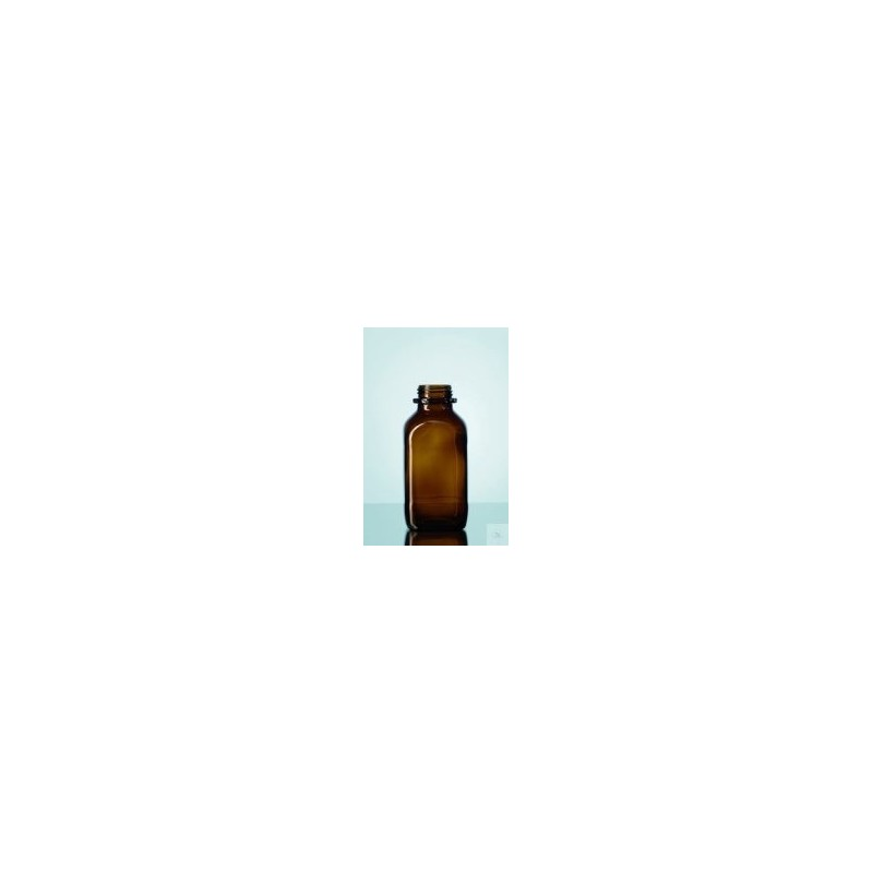 Reagent bottle 100 ml wide neck amber glass square without