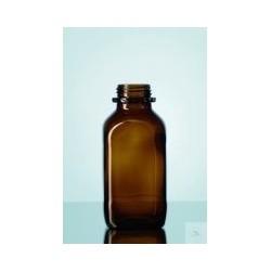 Laborflasche 250 ml weithals Braunglas vierkant ohne Ring/Kappe