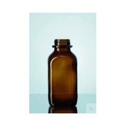 Reagent bottle 250 ml wide neck amber glass square without