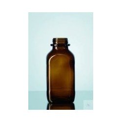 Reagent bottle 500 ml wide neck amber glass square without