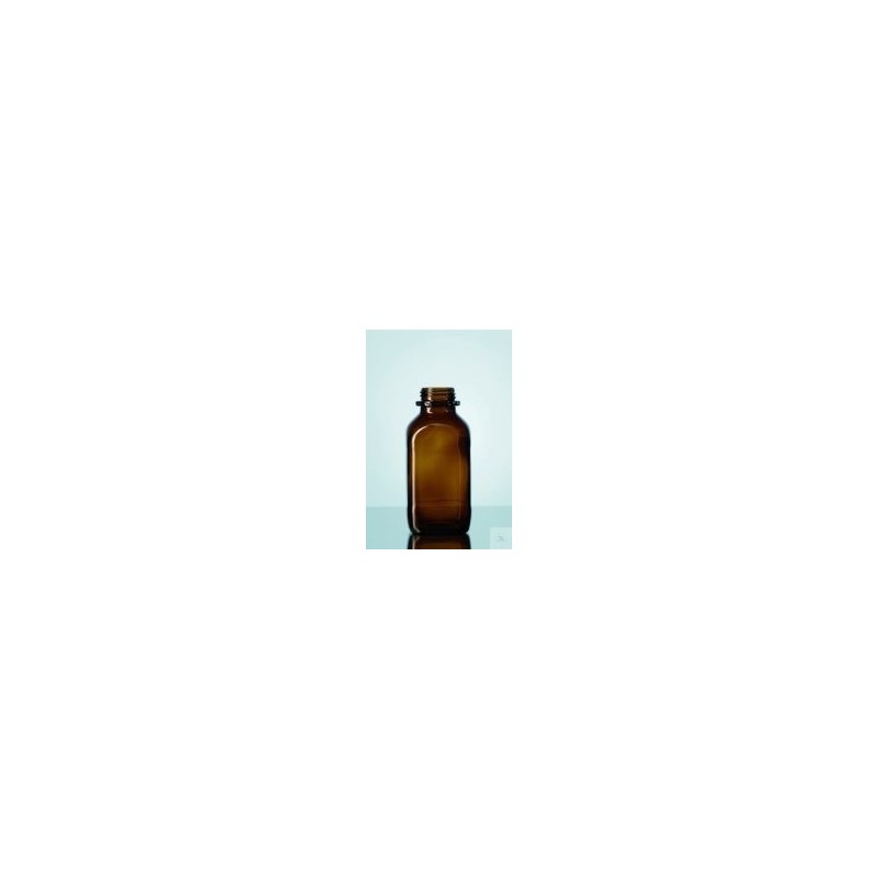 Reagent bottle 1000 ml wide neck amber glass square without