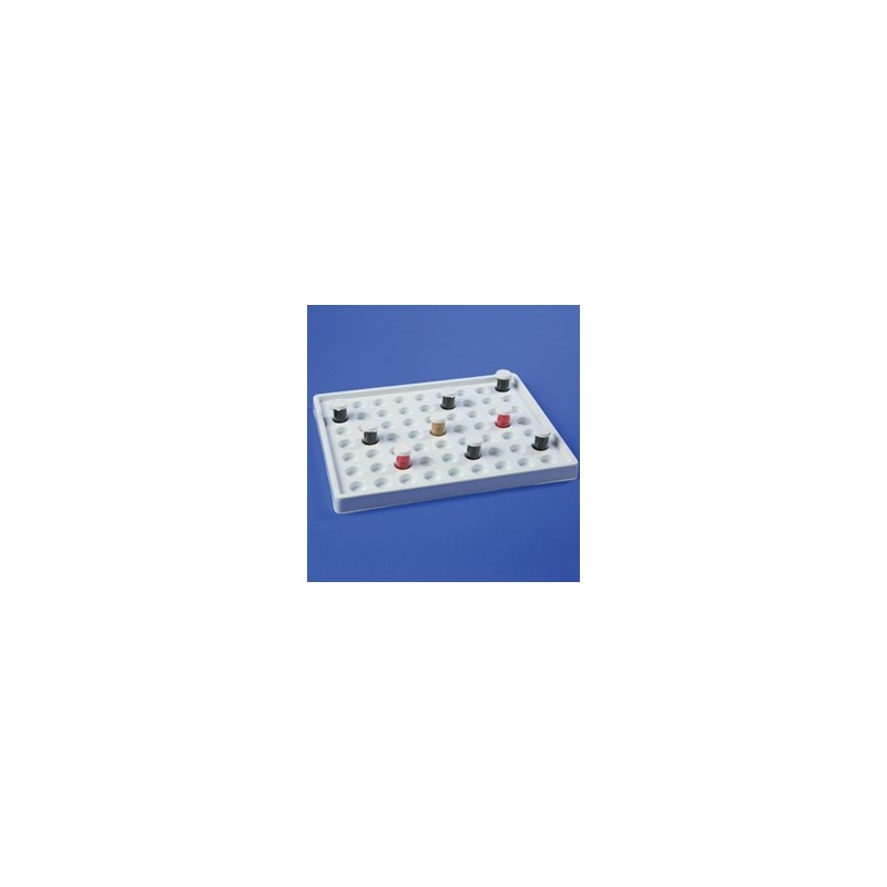 Drawer tray for vials PS 63 places of Φ32mm WxDxH 430x360x64 mm