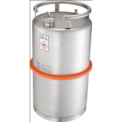 Safety transportation barrel with screw cap stainless steel 25L