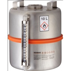 Safety collection barrel with centered plug level indicator