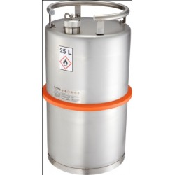 Safety barrel with screw cap pressure control valve stainless