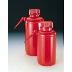 Wash bottle Unitary 500 ml wide mouth PE-LD red
