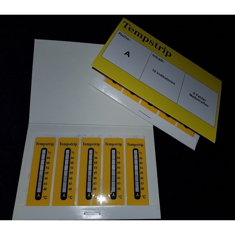 Pasek papierowy żółty do pomiaru temperatury 8 poziomów typ A