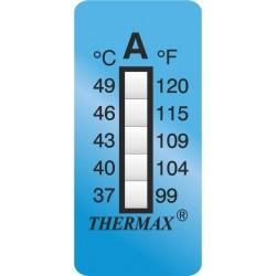 Paski do pomiaru temperatury 39x15 mm 5 poziomów zakres +104 do