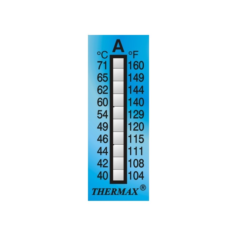 Thermax 10 Level strips irreversible measuring range +77 to
