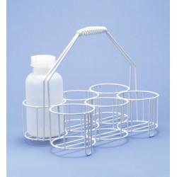 Flaschenträger Stahldraht PE-weiß 4 Öffnungen Ø 130 mm Höhe