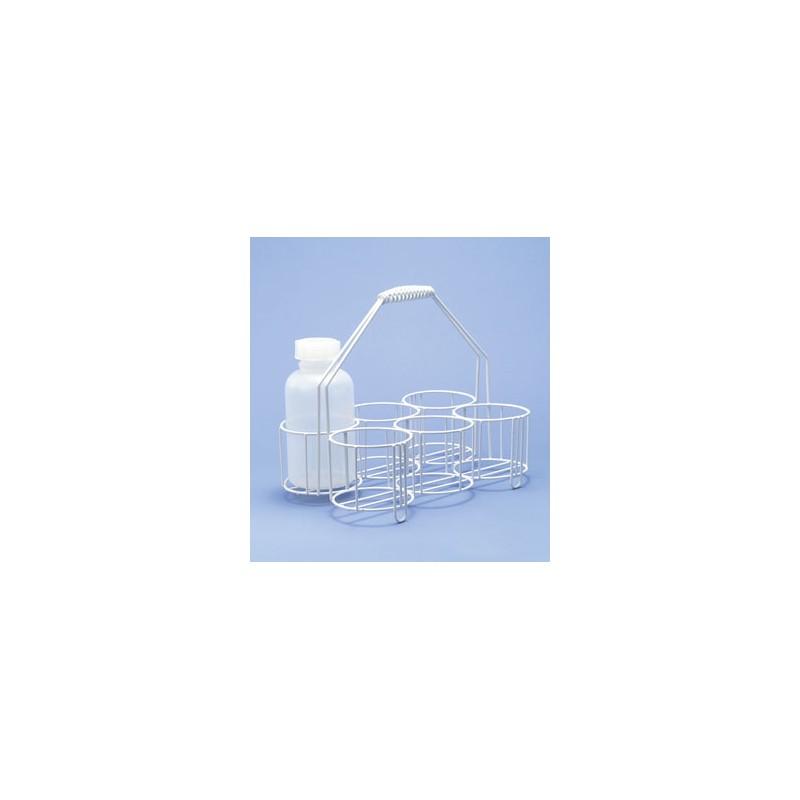 Flaschenträger Stahldraht PE-weiß 4 Öffnungen Ø 100 mm Höhe