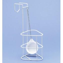 Urinflaschenhalter Draht PE-weiß mit Deckel 123x114x150/325 mm