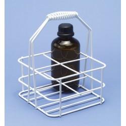 Flaschenträger Stahldraht PE-weiß 105x105 mm für 4 Flaschen á