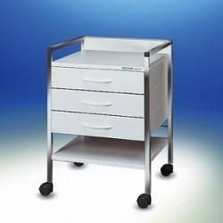 Vielzweckwagen Variocar® 45 weiß verchromt auf Rollen Ø 50 mm