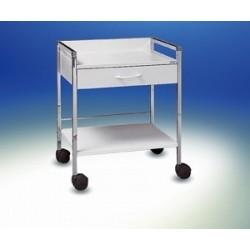 Vielzweckwagen Variocar® 60 weiß verchromt auf Rollen Ø 75 mm