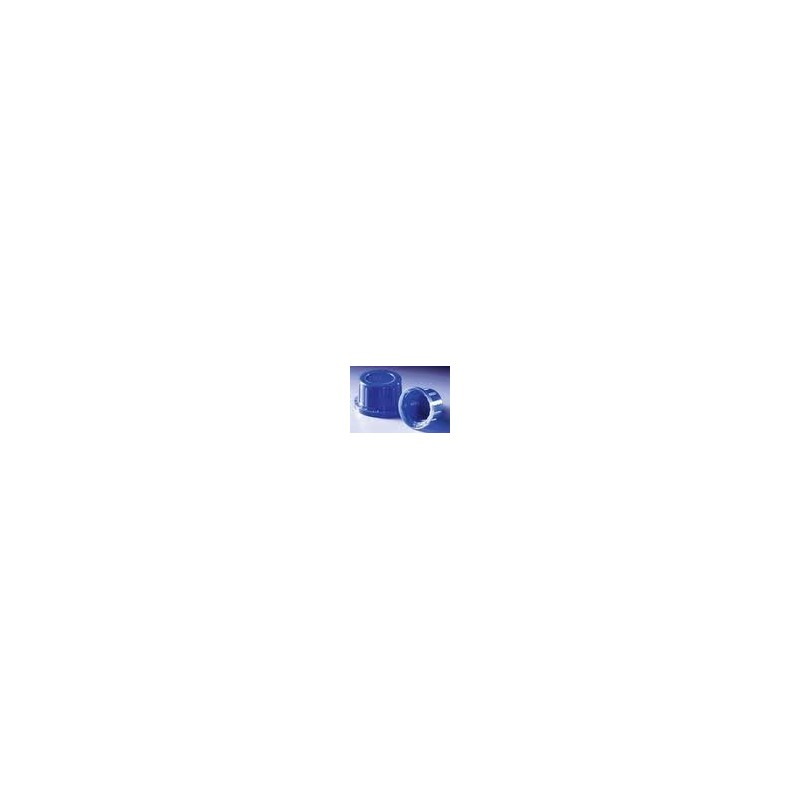 Screw cap PP blue with conical seal and tamper-evident ring for