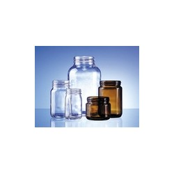 Wide mouth bottle 50 ml clear glass hydrolytic class III thread