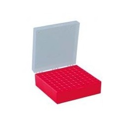 Cryo box PP red for 81 cryo vials numeric coded 133x133x52 mm