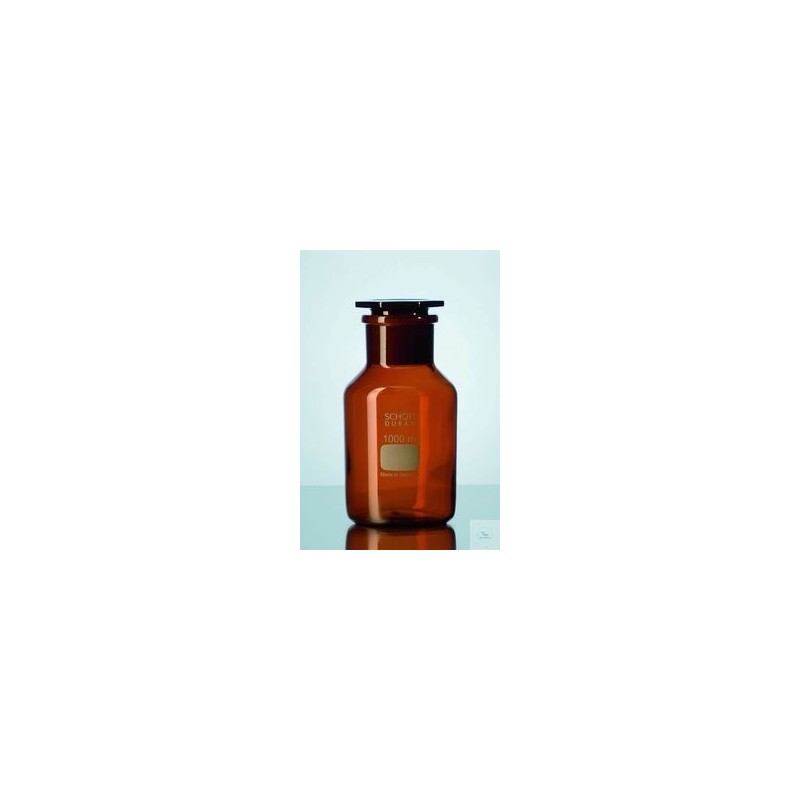 Reagent bottle 500 ml wide neck Duran amber NS 45/40 with glass